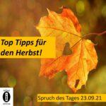 Unsere Top Tipps für den Herbst! // Spruch des Tages 23.09.21
